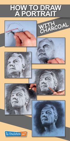 How to draw a portrait with charcoal on toned paper. #drawing #charcoal