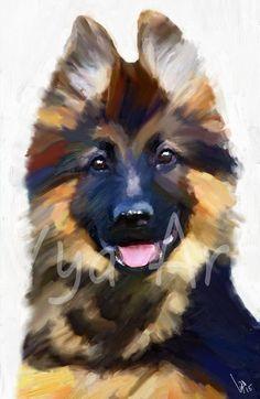 German Shepherd dog pup art painting dog art Print of by VyaArt
