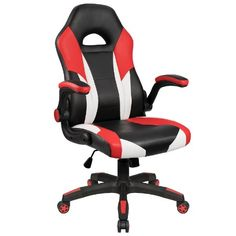 Amazing offer on Homall Gaming Chair Racing Chair Ergonomic Computer Chair High Back Office Chair PU Leather Desk Chair Executive Swivel Task Chair Wide Seat Flip Up Padded Armrests (Red) online - Shopallshopping Chaise Gaming, Pc Gaming Chair, Ergonomic Computer Chair, Computer Desk Chair, Pc Computer, Executive Office Desk, Executive Chair, Work Chair, High Back Office Chair