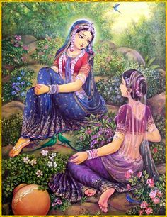 'and she would tell of her holy love to others, and they could not believe her for the didn't know such love was possible'  •~RADHA KRISHNA~• Artist: Vasudeva Krishna das