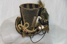 GOLD BLUE MINI TOP HAT CORSET STEAMPUNK GOTHIC BURLESQUE ANCHOR EMBROIDERY CHAIN   eBay