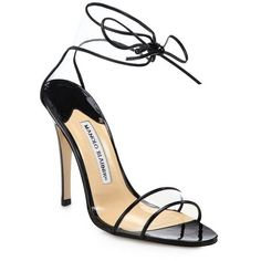 Manolo Blahnik Lucitan Ankle-Tie Sandals ($298) ❤ liked on Polyvore featuring shoes, sandals, heels, black, black patent leather shoes, ankle wrap sandals, heeled sandals, black ankle strap sandals and manolo blahnik sandals