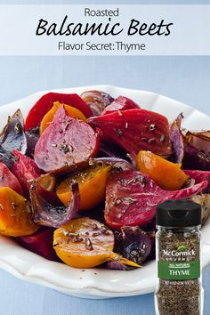Thyme adds fresh, aromatic flavors to this roasted balsamic beets side dish. Serve as the perfect addition to a holiday meal.