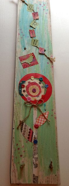 Hand Made Wooden Sign Spring mixed media by PillowtasticPlus, $18.00
