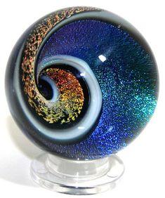 Ocean Summer Lampwork Vortex Marble Paperweight