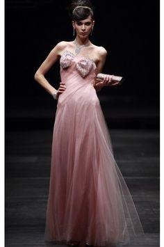 Best Floor-length Strapless Sleeveless Tulle A-line Evening Dresses