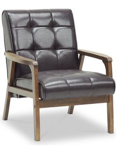 Baxton Studio Mid-Century Masterpieces Club Chair, Brown ❤ Wholesale Interiors -- DROPSHIP