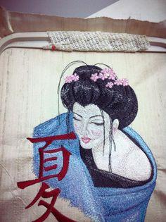 Geisha with Hieroglyphic machine embroidery design