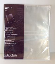 QP13 Deluxe Binder Recipe Protector Refills 20 Pocket Sheets CR Gibson 3 Ring  | eBay