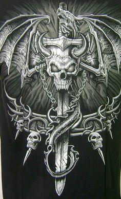 Dragon skull cross