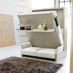 Klap het bed in voor een bank met een plank. www.thewaldo.nl #TheWaldo #WoneninTheWaldo #WoneninDenHaag #Livingatyourselfie
