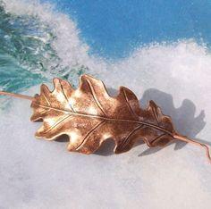 Oak Leaf Shawl Pin, Leaf Scarf Pin, Copper Hair Slide, oxidized, copper shawl pin, fall fashion, organic, barrette, brown, woodland. $18.00, via Etsy.