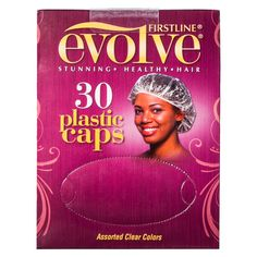 Firstline Evolve Plastic Hair Caps - Assorted Clear Colors (30 Count), Medium Clear