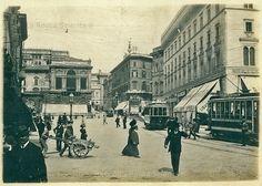 Piazza Venezia verso via Cesare Battisti e via Quattro Novembre (allora Via Nazionale) Anno: 1908