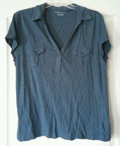 New York & Company size XL Blue V-neck Polo Shirt Blouse Top #NewYorkCompany #PoloShirt #Casual