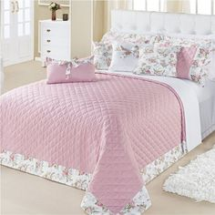Kit Cobre Leito Casal King 180 Fios 07 Peças Milene Rosê - Vilela Designer Bed Sheets, Luxury Bedroom Design, Home Tech, Shabby Chic Bedrooms, Luxurious Bedrooms, Bed Covers, Bed Spreads, Comforters, Sweet Home