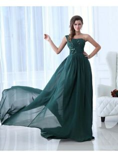 Enchanting One-shoulder Court Train Chiffon A-line Prom Dress