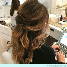 Gorgeous updo for brown long hair