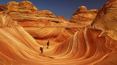The Wave is a sandstone rock formation located in the United States of America near the Arizona-Utah border, on the slopes of the Coyote Buttes, in the Paria Canyon-Vermilion Cliffs Wilderness, on the Colorado Plateau.