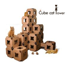 Just think of the endless possibilities for building an incredible cat castle with this set-up! It's the Cube Cat Tower, sold in a set of 5 cubes, 3 top boards, 5 connecting passages, 20 clips and 5 catball toys, all made from sturdy cardboard. $199.99 for the set on Amazon.