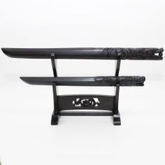 Dragon Swords Set Ebony Dragons Cintamani Handles Stands Collections Deco Gifts