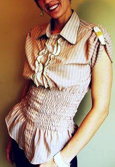 refashion men's dress shirt (want to try shirring like this!)