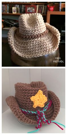 Baby Cowboy Hat, Crochet Cowboy Hats, Crochet Animal Hats, Crochet Kids Hats, Crocheted Baby Hats, Crochet Beanie, Crochet Ideas, Crochet Projects, Crochet Baby Hats Free Pattern
