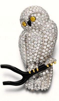 Diamond and Black Coral Owl Brooch - Van Cleef & Arpels