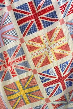 Pieced Union Jack quilt top from Diary of a Quilter