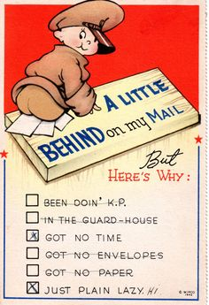 World War II Postcard Comic A Little Behind on my Mail 1942 Vintage
