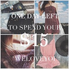 """Weekend discount! $15 dollars off your order with code """" WELOVEYOU """"  & get entered to win a $100 giftcard!"""