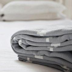 Jamie Kay Reversible Grey and White Crosses Blanket & Throw