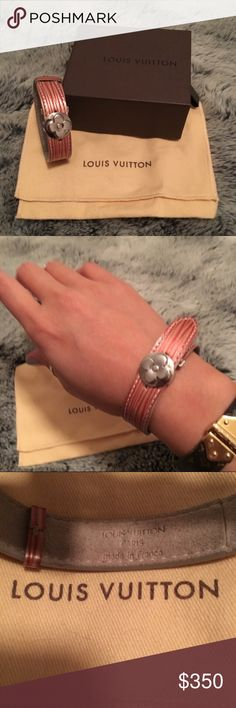 ✨Louis Vuitton Patent Epi Leather Wish Bracelet✨ ✨NWOT Authentic Red/gold Louis Vuitton Patent Epi Leather Wish Bracelet with silver-tone monogram ornament at clasp featuring stamped monogram logo accents at exterior and deployant closure. Date code reads SN0999. Comes with original dust bag and box.✨ Louis Vuitton Jewelry Bracelets