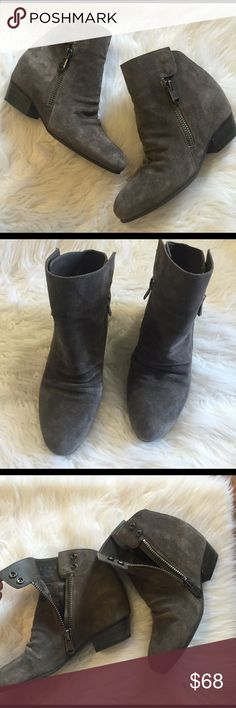 Naya gray/taupe booties Only worn twice and they were bought this year.  I have a foot that bothers me and some shoes just hurt.  These are awesome and I hate that I can't wear them.  They have a zipper and snaps on both the inside of the foot and the outside making them quite unique. They come in their box.  The color says taupe but it's a close race with gray.  You can wear them as either.  Suede leather. Naya Shoes Ankle Boots & Booties