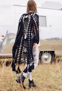 Casaco de abacaxi em crochê - Hendrix Jacket - Black | Amilita | The Freedom State