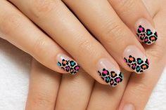 Colorful Leopard Print Nail Design
