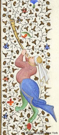 Hybrid man, wearing knotted headgear, blowing trumpet held with both hands | Book of Hours | France, Paris | ca. 1460 | The Morgan Library & Museum