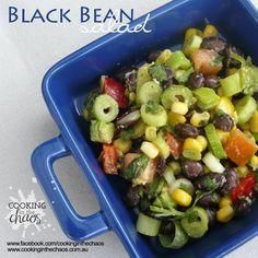 Black Bean Salad - Thermomix Recipe - Cooking in the Chaos Cooking Time, Cooking Recipes, Bean Salad, Hot Pot, Salad Ingredients, Salad Bowls, Black Eyed Peas, Coriander, Black Beans