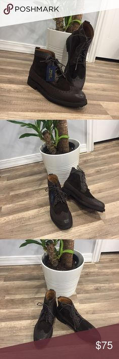 POLO RALPH LAUREN Nickson Wingtip Leather Boot ( Brand new) Excellent craftsmanship, boot season is upon us, and these gorgeous leather and suede lined boots are sure to get you noticed. Great product, better price! Get ready for compliments. Polo by Ralph Lauren Shoes Boots