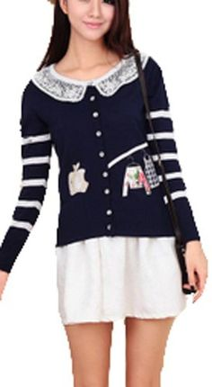 $41.10 awesome Vangood Women's Doll Collar Apple Cardigan Long Sleeve Sweater