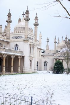 The Royal Pavilion, Brighton, East Sussex in the snow