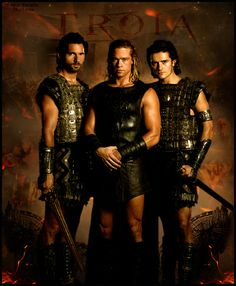 """Eric Bana as Hector, Brad Pitt as Achilles, and Orlando Bloom as Paris in """"Troy"""""""