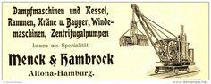 Original-Werbung/ Anzeige 1905 - DAMPFMASCHINEN MENCK & HAMBROCK ALTENA / MOTIV BAGGER  - ca. 115 x  45 mm