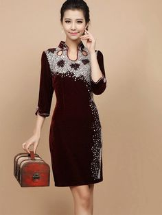 Velour Short Qipao / Cheongsam / Chinese Evening Dress