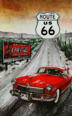 Route 66 Usa, Old Route 66, Route 66 Road Trip, Coca Cola Poster, Coca Cola Ad, Vintage Travel, Vintage Cars, Carros Vintage, Harley Davidson