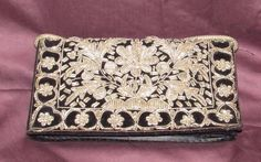 Vintage Clutch Wallet Black Velvet & Silver Zardozi Embroidery India in Clothing, Shoes & Accessories, Vintage, Vintage Accessories | eBay