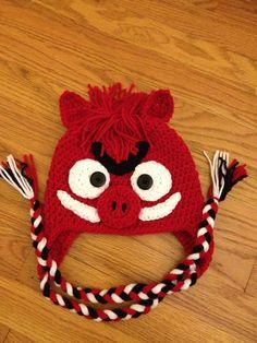 Crochet Arkansas Razorback Hat Beanie Earflap by beaniebird, $20.00