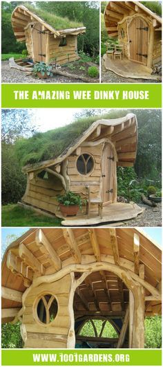 This cabin look like the one of our child time! Initially the project made by thinkingwood was a child's playhouse but the project has grown arms and legs and could be used as a garden bedroom for adults. Except for the base frame, all the wood (mainly oak) has been sourced within 15 miles of the pr…