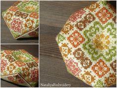 PDF cross stitch pattern: Biscornu Color Geometry Ornament