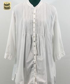 On Sale White Cotton Button Down Blouse with small pleats in front. By Chicos. $17.99